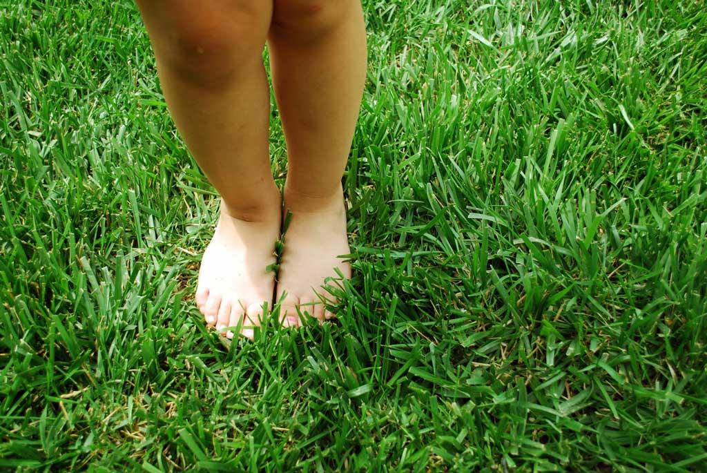 Kreukelz flexibele opvang blote voeten gras